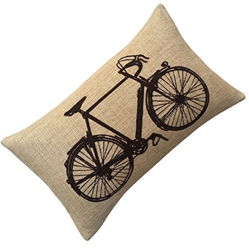 Aeneontrue Cotton Linen Modern Bicycle Bike Print Decorative Throw Pillow Cover (style1_Black) (Bike Throw Pillow)