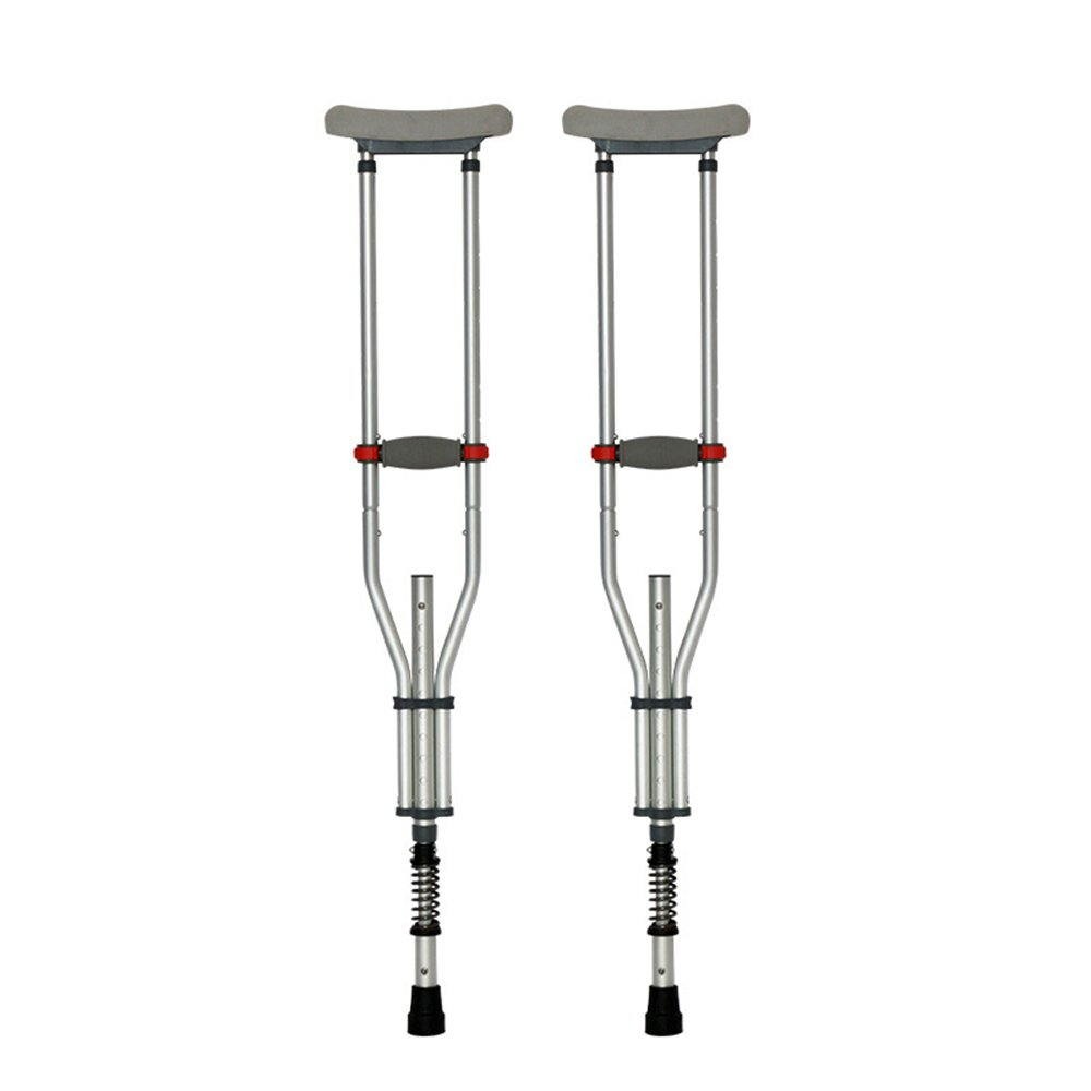 3-in-1 Medical Crutches Split Folding Portable Underarm Crutches Walker Stick for Disabled People with TPR Soft Drag Anti-Slip mat Foldable Under arm Crutches (2)