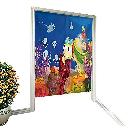 (QianHe Noren Style Doorway Curtain Cartoon Character Carrying Kids Underwater Coral Reef Octopus Nursery Decor Multicolor Doorway Curtain Tapestry Modern 33.5
