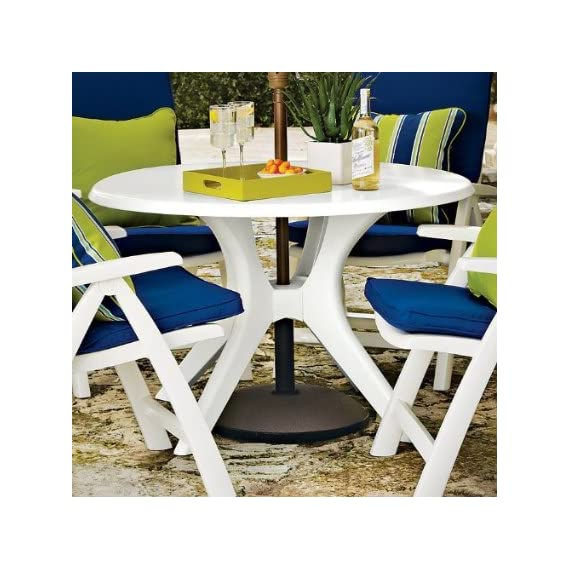 """46"""" Kettalux Plus Dining Table with Umbrella Hole Finish: White - Expertly crafted in Germany of durable high-impact resin (White) Warp-proof resin core and chip resistant edges High density protective coating makes it virtually maintenance free and very easy to clean - patio-tables, patio-furniture, patio - 51ioncX0cUL. SS570  -"""