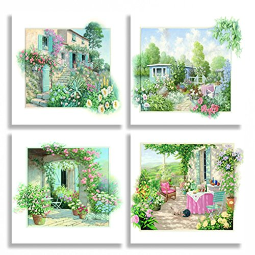 Sweety Decor Giclee 3D Touch Garden Scene Photo Prints Oil Paintings on Canvas Wall Art for Home Decor Set of 4 Landscape Picture (12*12inches*4pcs)