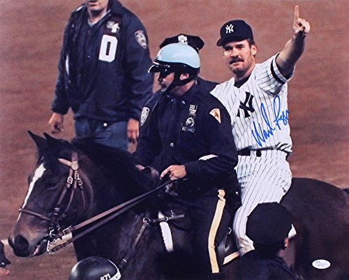 WADE BOGGS SIGNED 1996 YANKEES WORLD SERIES CHAMPS POLICE HORSE RIDE 16x20 w/JSA
