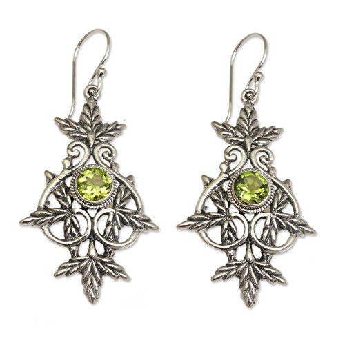 - NOVICA Peridot .925 Sterling Silver Dangle Earrings 'Marvelous Vintage'