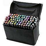 Vococal 80 Piezas Marker Pen Colors Rotuladores Pluma,Doble-punta(1mm/6mm) Rotuladores a Base de Alcohol Lápiz de Tinta con Bolso Negro del Almacenaje