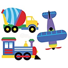 Wallies Peel & Stick Vinyl Wall Decals, Olive Kids Trains, Planes And Trucks Wall Stickers, Includes 1 Train, 1 Plane And 4 Truck Decals