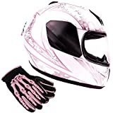 Typhoon Youth Kids Full Face Helmet with Shield & Gloves Combo Motorcycle Street Dirt Bike - Pink White Butterfly (Medium)
