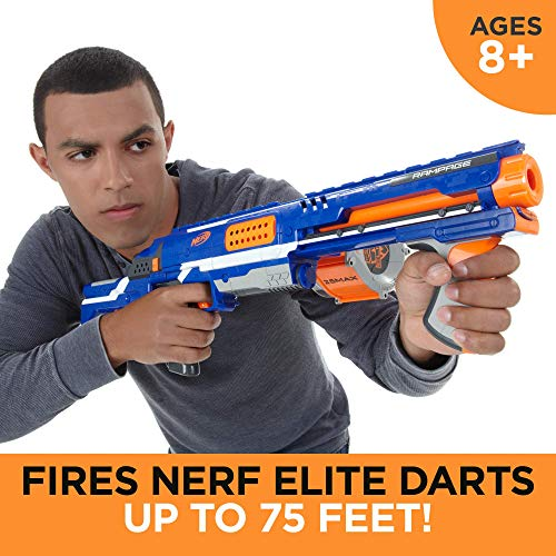Nerf Rampage N-Strike Elite Toy Blaster with 25 Dart Drum Slam Fire and 25 Official Elite Foam Darts For Kids, Teens, and Adults (Feed Magazine)