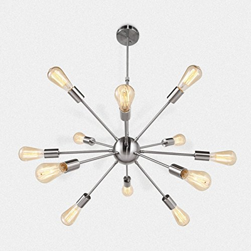 FLYER5 Sputnik Chandelier 12 Lights Industrial Vintage Pendant Lighting Brushed Nicke ()