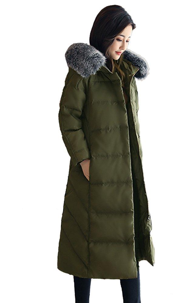 Queenshiny® Damen Lang Daunenjacke mit Kapuze Winter Mantel