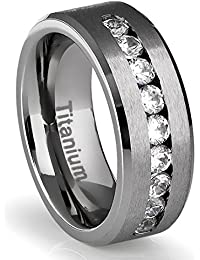 8MM Men's Titanium Ring Wedding Band with Flat Brushed Top and Channel Set CZ