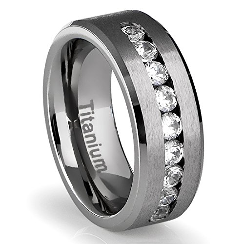 amazoncom 8mm mens titanium ring wedding band with flat brushed top and channel set cz tungsten rings for men jewelry - Mens Wedding Rings Titanium
