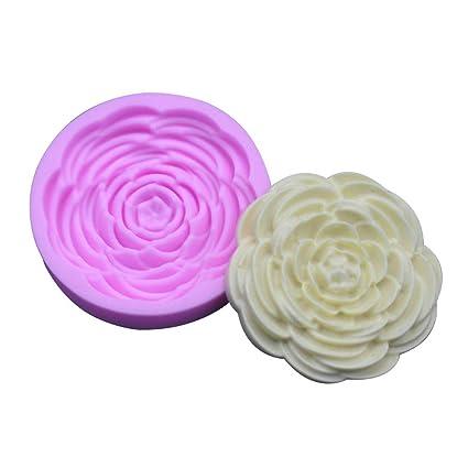 MSYOU Moldes de silicona hermoso patrón de flores DIY hecho a mano molde para magdalenas fondant