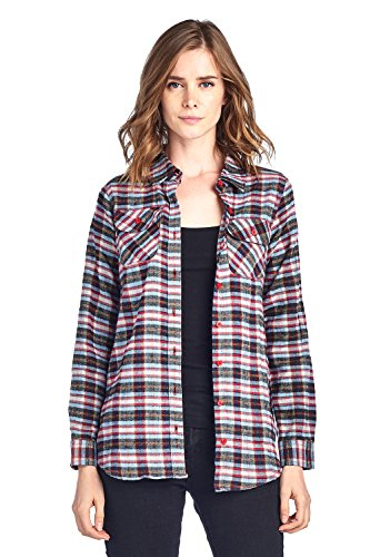 ICONICC Women's Long Sleeve Plaid Flannel Shirt (CT0023_70_S)
