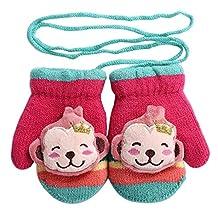 Cartoon Monkey Winter Warm Mittens Gloves with String [Happy Monkey]