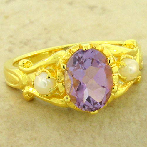 - Genuine Amethyst Pearl 24K Gold & 925 Silver Antique Style Ring Size 8 KN-4886