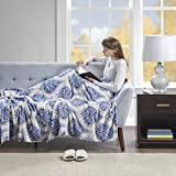 Beautyrest - Plush Heated Throw Blanket -Secure Comfort Technology-Oversized 60' x 70'- Indigo/Gray - Damask Pattern - Cozy Soft Microlight Heated Electric Blanket Throw - 3-Setting Heat Controller