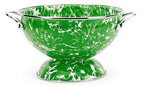 (Golden Rabbit Enamelware - New Green Swirl Pattern - Petite Colander)