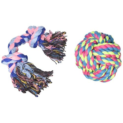Classic Rubber Dog Oval Rope dental toys Tough /& extremely durable Chew to Clean