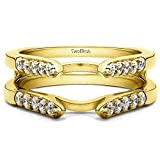 0.3 ct. Diamonds Cathedral Style Round Stone Ring Guard in 14k Yellow Gold (1/3 ct. twt.)