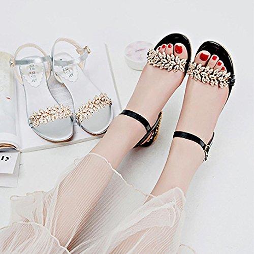 Sandales Femme À Talons Hauts, Sandales Compensées Coerni Fashion (us: 8, Noir) Noir