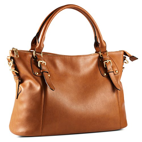 (Plambag Large Tote Bag for Women, Faux Leather Laptop Handbag Purse (Brown))