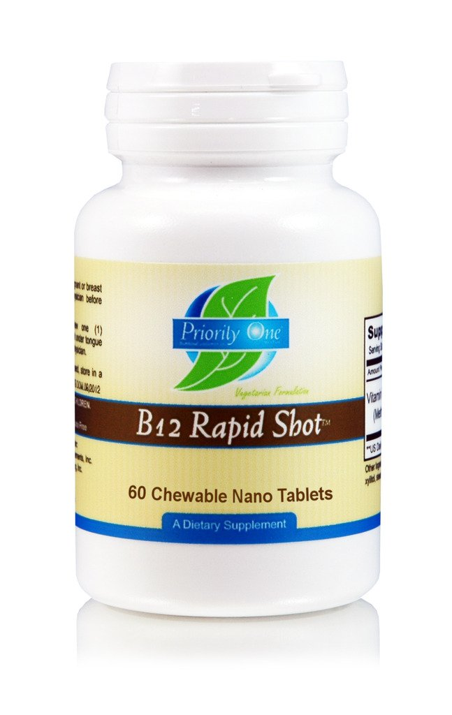 Priority One Vitamins B12 Rapid Shot 60 Chewable Nano Tablets - Natural Energy Booster - Max Absorption Methylcobalamin Vitamin B12