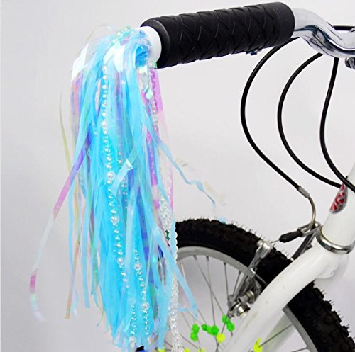 Scooter Streamers Kids Children Bike Scooter Handlebar Colourful Streamers with Beads Pom-pom Pair Baby Carrier Accessories Bicycle Grips Sparkle Tassel Ribbon