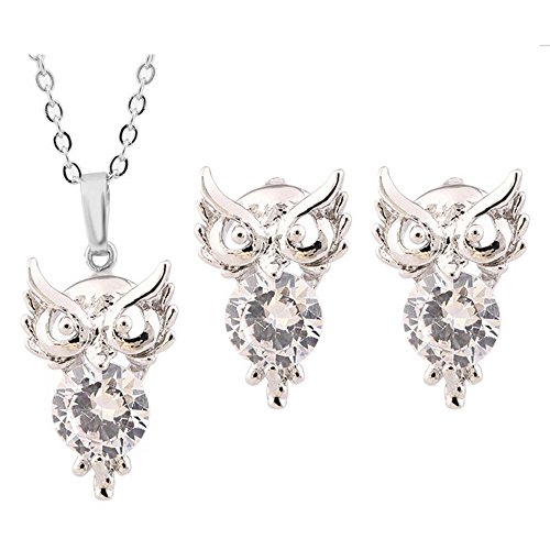 HSG Latest Hearts and Arrows Jewelry Set Owl Pendant Necklace Earrings- Sliver White - Heart Owl Pendant