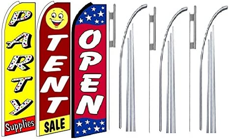 Pack of 3 party supplies tent sale Open King Swooper Feather Flag Sign Kit With Pole and Ground Spike