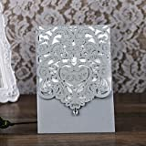 Best Wedding Invitations - PONATIA 25PCS Lacer Cut Invitations Cards with Rhinestone Review