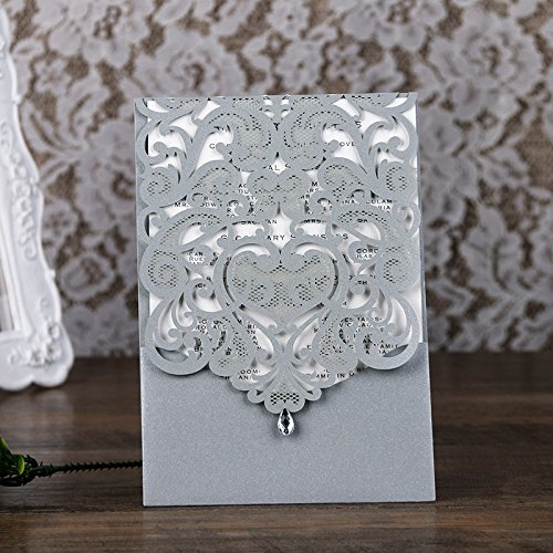 PONATIA 25PCS Lacer Cut Invitations Cards with Rhinestone Hollow Flora Favors For Wedding Bridal Shower Invitation Baby Shower Engagement Birthday Invitation Graduation (Sliver Grey)