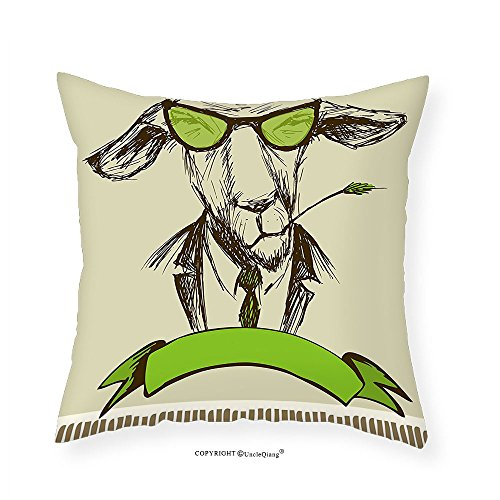 VROSELV Custom Cotton Linen Pillowcase Modern Hipster Donkey with Grass on Mouth and Glasses Sketch Illustration for Bedroom Living Room Dorm Pale and Fern Green Brown - August Alsina Glasses