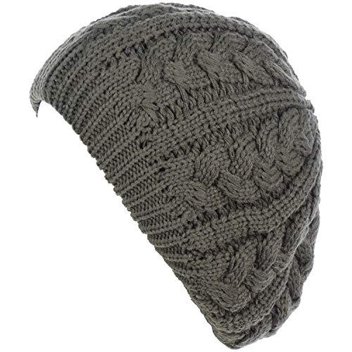 (BYOS Women's Winter Urban Boho Chunky Cable Fleece Lined Knit Beret Beanie Hat)