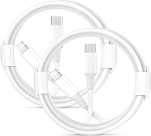 USB C to Lightning Cable, 2Pack 6FT iPhone 12 Lightning to Type C Fast Charging Cable Cord Compatible iPhone 12 Pro 11 Max XS XR 8 Plus, Supports Power Delivery-White