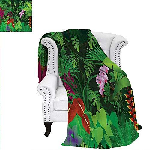 RenteriaDecor Jungle Warm Microfiber All Season Blanket Environment Amazon Forest Warm Microfiber All Season Blanket for Bed or Couch 90