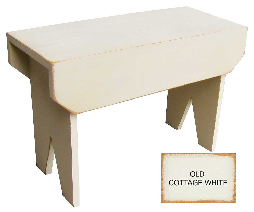 Sawdust City 2 ft Wood Bench long (Old Cottage White)