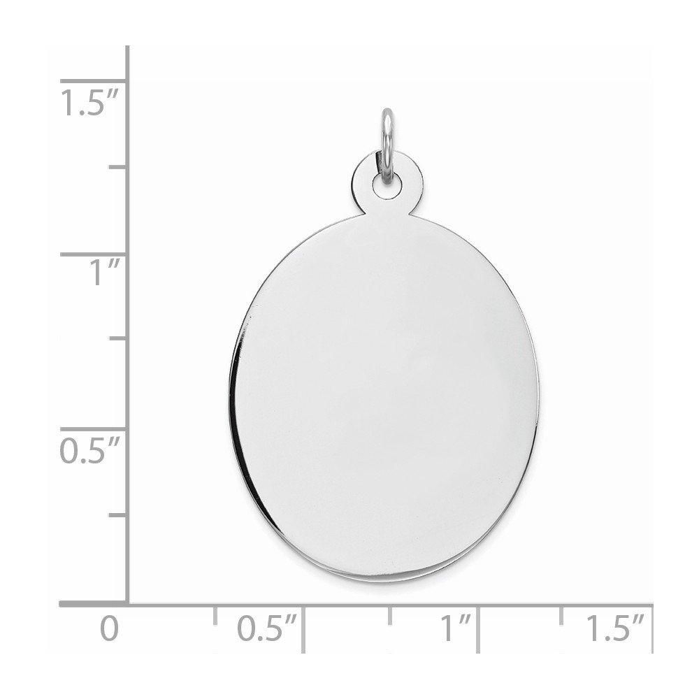 Rhodium-Plated Sterling Silver Engravable Oval Polished Front//Satin Back Disc Charm
