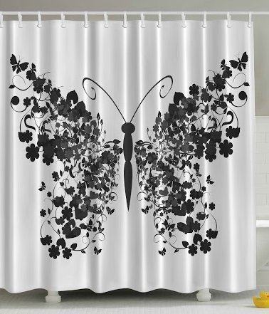 Ambesonne Nature Animal Butterfly Shower Curtain Decor Brushstroke Watercolor British Black Clovers Flowers Polyester Art