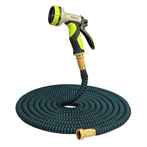 50ft Flex Duct - [Non Kink] Expandable Garden Hose, 50ft Expanding Extra Strength Stretch Material Lightweight Flexible Hose with 9 Pattern Spray Nozzle and Brass Connectors Heavy Duty for Car Garden Pet – Black