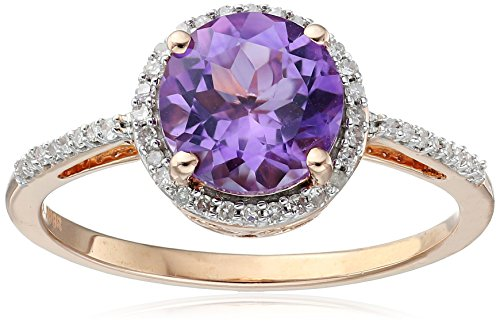 10K Rose Gold Amethyst Round with White Diamond Halo Ring, Size 8