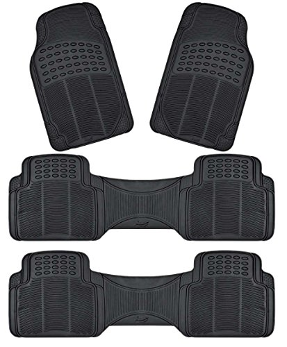 All Weather Heavy Duty Rubber - Zento Deals 4-Piece Black Trimmable Premium Quality Full Rubber-All Weather Heavy Duty Vehicle Floor Mats