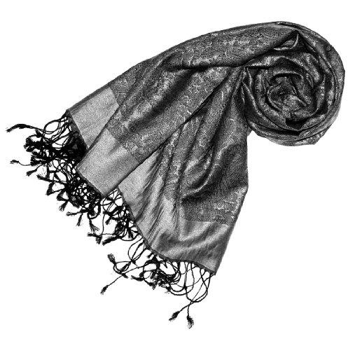 LORENZO CANA Mens Luxury Silk Scarf Pashmina 29 x 75 in Grey Paisley 7805811 (Sable Paisley)