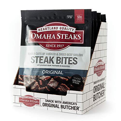 Omaha Steaks Steak Bites, Premium Beef Jerky, 2.5 oz Bag (Pack of 8), the grab-and-go healthy snack