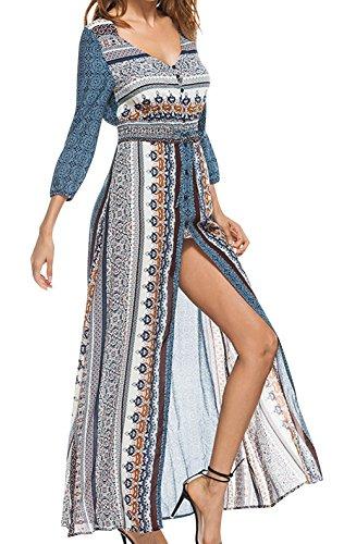 Feoya - Vestido Largo Mujer Verano Casual con Cuello V Mangas Largas para Playa Boho Vestido Floral Dobladillo Abierto Moderno para Vacaciones Azul