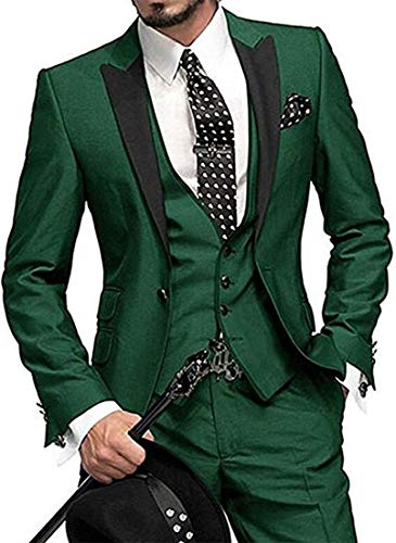 (One Button 3 Pieces Green Wedding Suits Notch Lapel Men Suits Groom Tuxedos Green 40 chest / 34 waist)