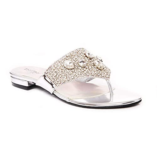 Zapatillas Planas para Mujer con Gemas Decoradas para Fiesta de Noche, Tallas 36 a 42, Color Plateado, Talla 37: Amazon.es: Zapatos y complementos