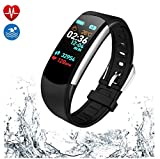 PGTC Fitness Wristband Activity Tracker Watch with Heart Rate Monitor, Blood Pressure Test, IP68 Water Resistant Smart Bracelet with Calorie Counter Pedometer Watch for Android and iOS (Black)