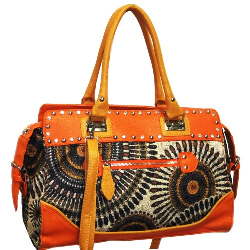 Dasein Studded Retro Shoulder Bag w/ Psychadelic Design -Orange/Black, Bags Central