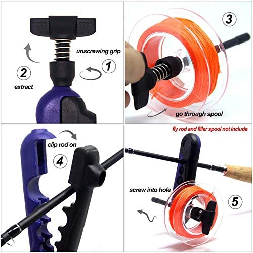 N+A Mini Fishing Line Winder Spooler Machine Portable Adjustable Spinning Reel Spool Spooling Station System Baitcaster Fishing Tackle Carp Accessories Works Clips for Various Sizes