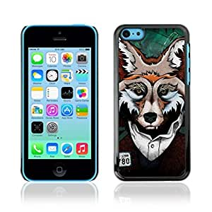 Colorful Printed Hard Protective Back Case Cover Shell Skin for Apple iPhone 5C ( Clever Fox Mug Shot Art )